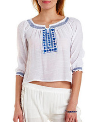 Charlotte Russe Embroidered Gauze Peasant Top