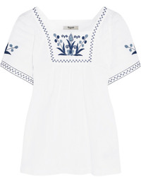 Embroidered cotton blend blouse white medium 448348