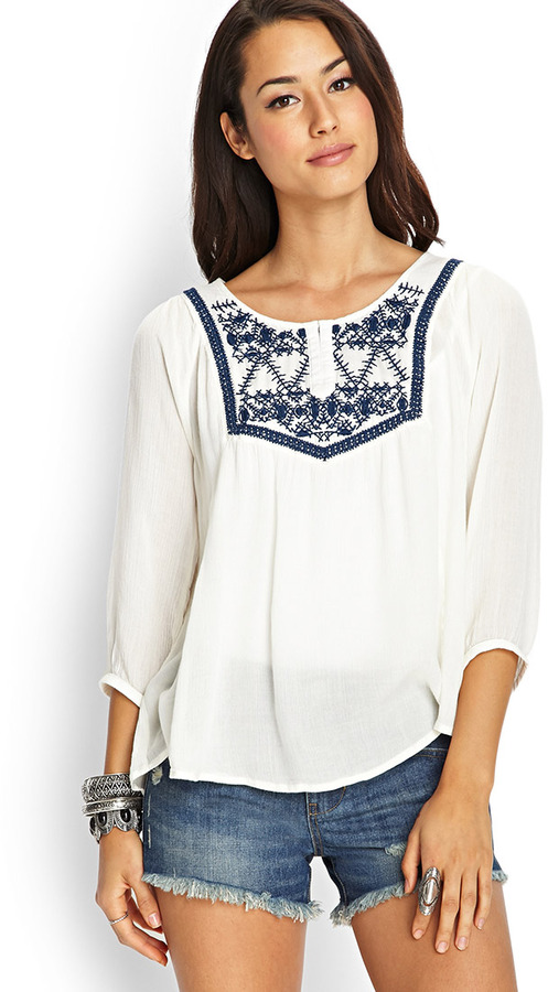 3307be2efca8ef ... Blouses Forever 21 Embroidered Woven Peasant Top ...