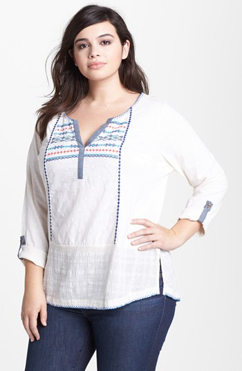 a88db94e0327dd Lucky Brand Chandler Embroidered Cotton Peasant Top, $41 | Nordstrom ...