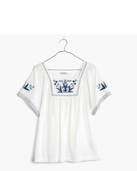 Madewell Embroidered Alma Peasant Top