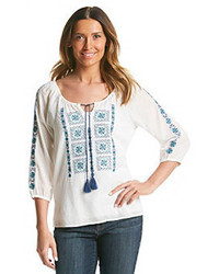 Nine West Vintage America Collection Ivie Embroidered Peasant Top