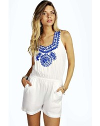 White and Blue Embroidered Playsuit