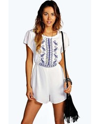 Boohoo Nyomi Capped Sleeve Embroidered Playsuit