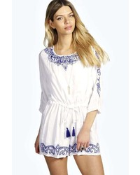 Boohoo Mia Embroidered 34 Sleeve Pom Pom Detail Playsuit