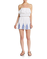 Saks Fifth Avenue RED Embroidered Strapless Gauze Romper