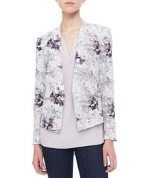 White and Blue Floral Blazer