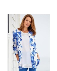 M&Co Ladies China Floral Print Pattern Soft Ponte Blazer Jacket Blue 20