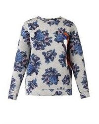 White and Blue Floral Crew-neck Sweater