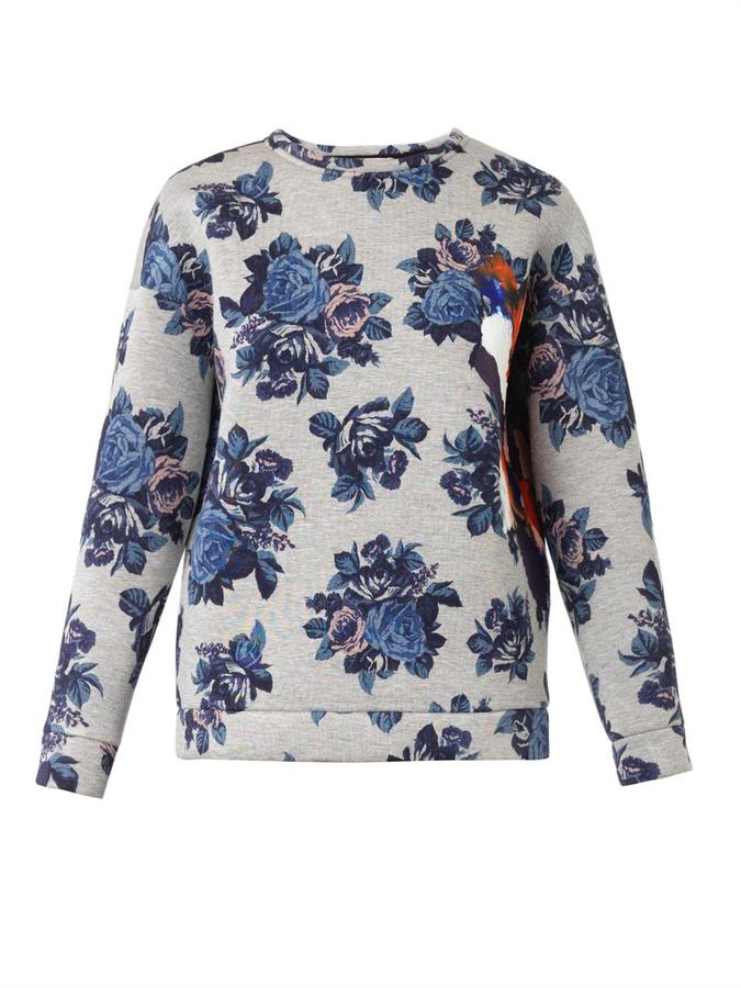 MSGM Floral Print Neoprene Sweatshirt | Where to buy & how to wear