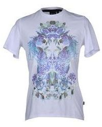 White and Blue Floral Crew-neck T-shirt