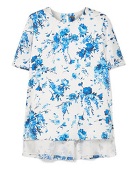 Adam Lippes Floral Print Hammered Silk Top