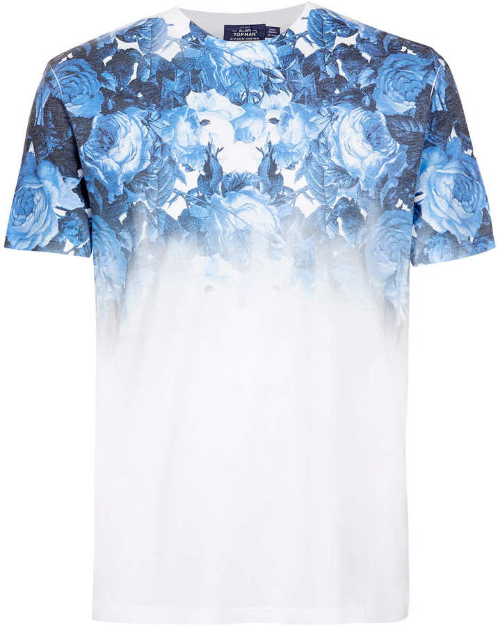 White and blue floral crew neck t shirt topman white blue for Blue floral shirt mens