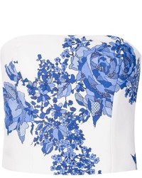 White and Blue Floral Cropped Top