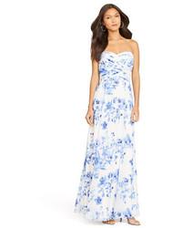 Floral print georgette gown medium 213327