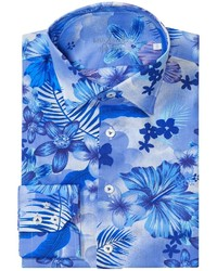White and Blue Floral Long Sleeve Shirt