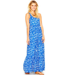 White and Blue Floral Maxi Dress