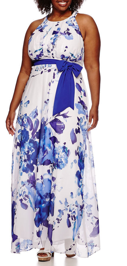 26af351dfdee R K Originals Rk Originals Sleeveless Floral Belted Maxi Dress Plus ...