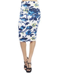 Women's Black Cropped Sweater, White and Blue Floral Pencil Skirt ...