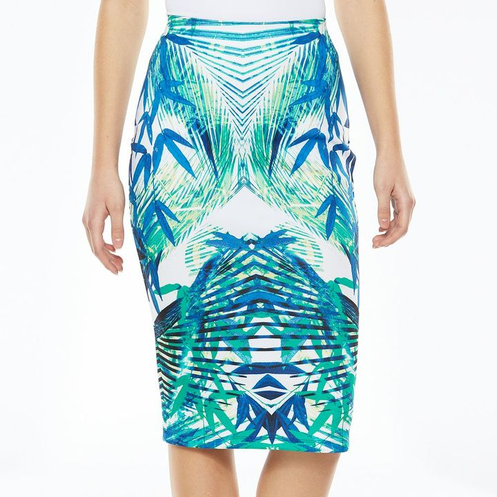 ... White and Blue Floral Pencil Skirts Apt. 9 Midi Pencil Skirt ...