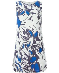 White and Blue Floral Shift Dress