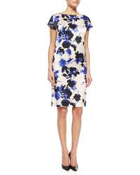 St. John Collection Desert Floral Print Stretch Silk Dress