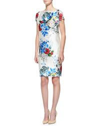 St. John Collection Enchanted Floral Print Mikado Dress Cream