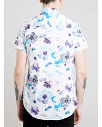 f8318ee6591 ... Topman White Floral Print Short Sleeve Shirt