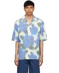 Kenzo White Blue Viscose Check Short Sleeve Shirt