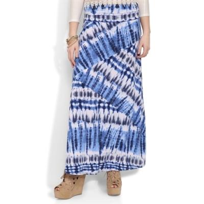 deb spliced maxi skirt with blue and white tie dye print