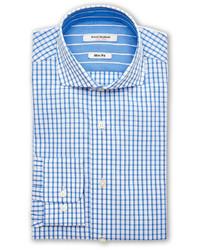 Isaac Mizrahi Blue White Gingham Slim Fit Dress Shirt