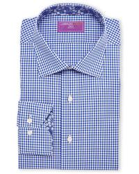 Lorenzo Uomo Blue White Trim Fit Gingham Dress Shirt