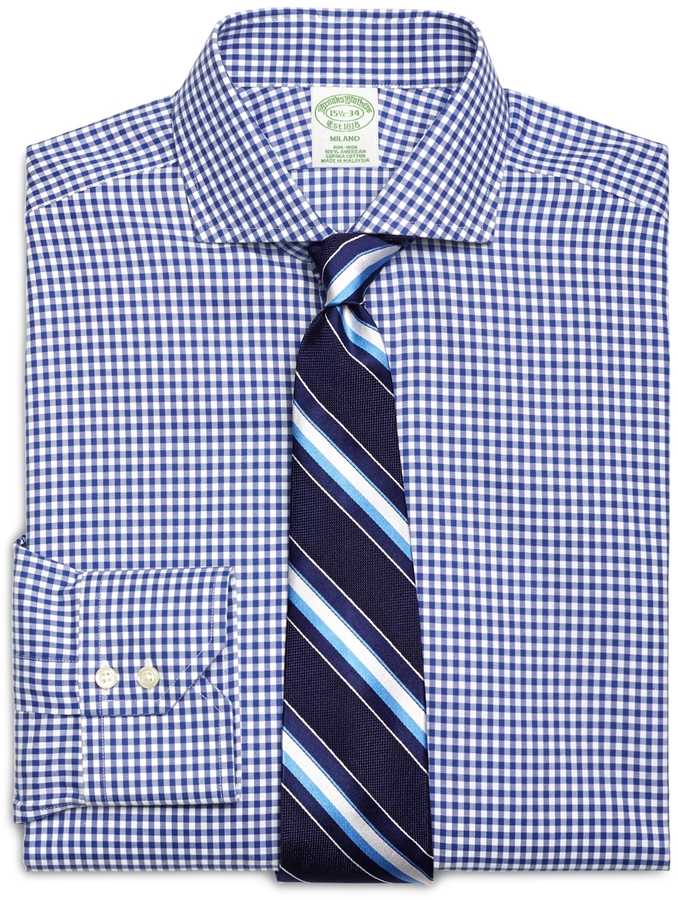 Brooks brothers non iron milano fit gingham dress shirt for White non iron dress shirts
