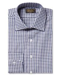 Emma Willis Navy Slim Fit Gingham Brushed Cotton Shirt