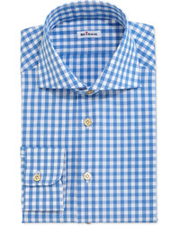 Gingham check dress shirt bluewhite medium 201945