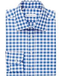 Etro Gingham Checked Dress Shirt Blue