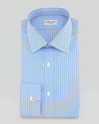 Gingham dress shirt bluebrown medium 3557