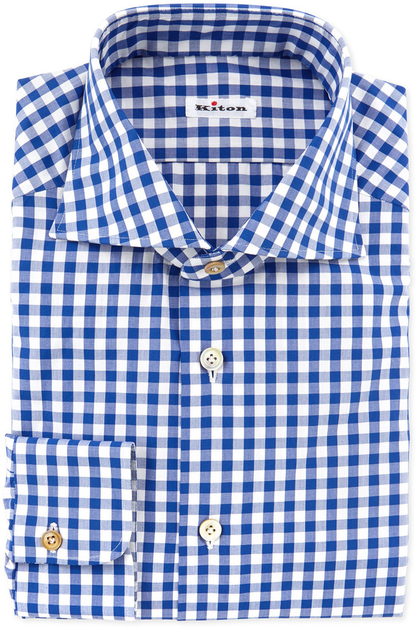 Kiton large gingham dress shirt blue where to buy how for Mens blue gingham shirt