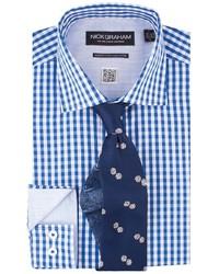 Nick Graham Shirttie Set Blue Gingham Shirt Navy Dice Print Tie
