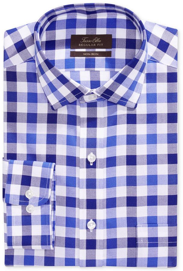 d350dd64 Tasso Elba Non Iron Blue Mega Gingham Dress Shirt, $69 | Macy's ...