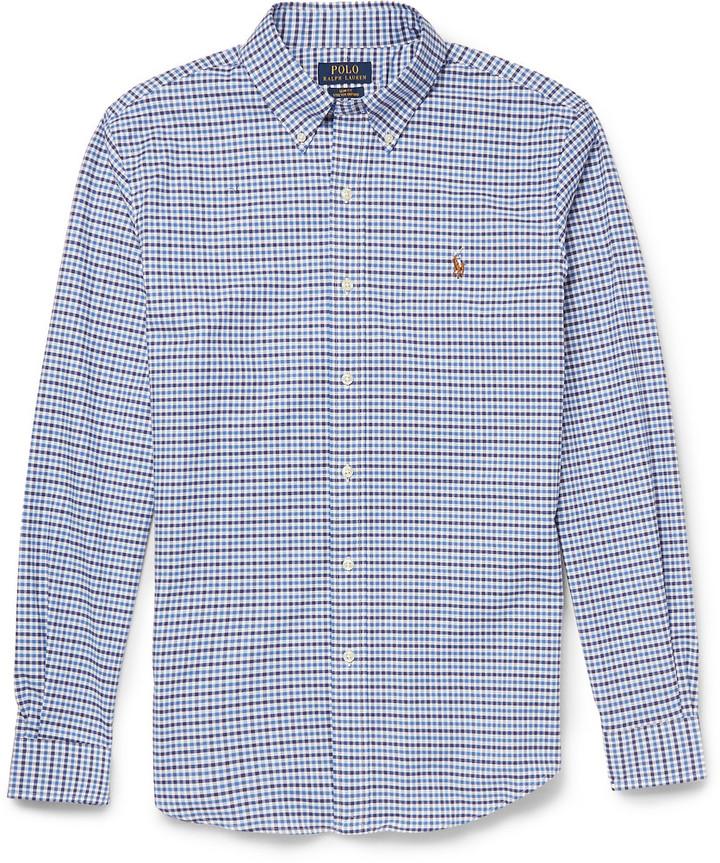 ... Blue Gingham Dress Shirts Polo Ralph Lauren Slim Fit Gingham Check  Cotton Blend Shirt