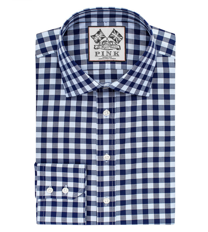 1f17e619 Thomas Pink Plato Check Slim Fit Button Cuff Shirt, $195 | Thomas ...