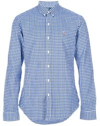 White and Blue Gingham Long Sleeve Shirt