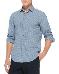 Vince Gingham Check Button Down Shirt Blue