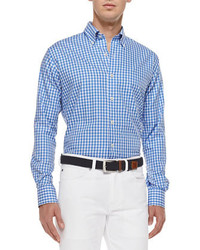 Peter Millar Gingham Tattersall Sport Shirt Blue