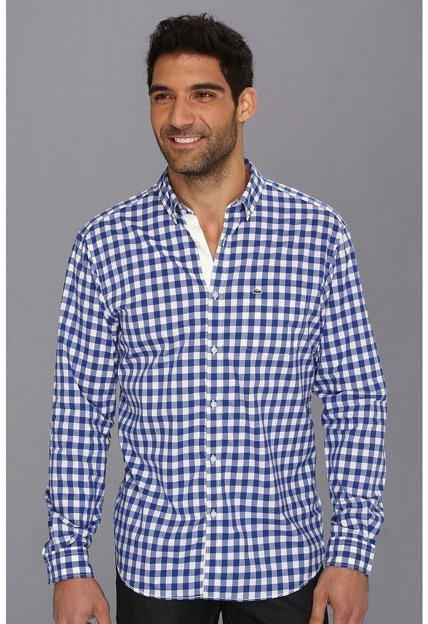 White and blue gingham long sleeve shirt lacoste ls for Blue gingham button down shirt
