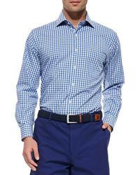 Peter Millar Melange Gingham Check Sport Shirt Blue