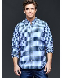 3986322c2eb5 Men s White and Blue Gingham Long Sleeve Shirts by Gap