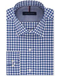 Tommy Hilfiger Slim Fit Non Iron Medium Blue Gingham Dress Shirt