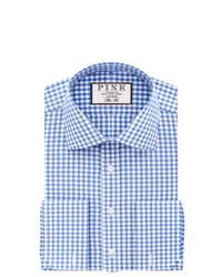 Thomas pink summers check slim fit double cuff shirt medium 685981